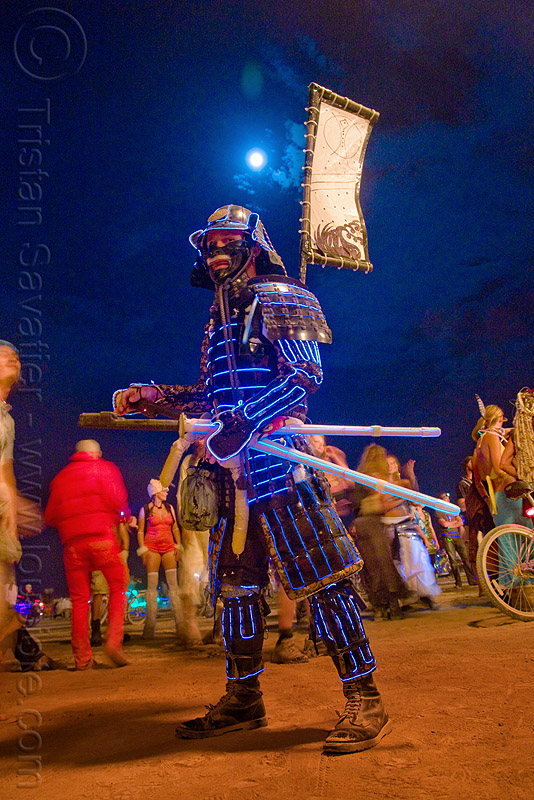 EL-wire samurai - burning man 2009, armor, armour, art, banner, burning man, el-wire, flag, full moon, mark, mochitoki, night, samurai, soldier, swords, warrior