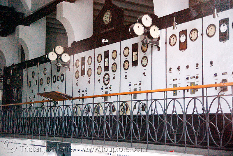 electric control panel with dials, abandoned, ammeters, bad gastein, control station, disused, electricity, gauges, generators, panel meters, power station, trespassing, urban exploration, voltmeters