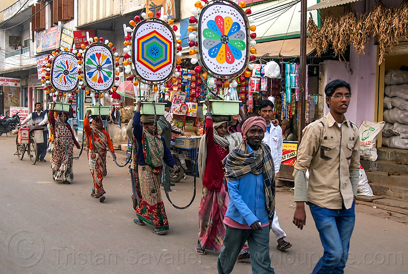 electric decorations for wedding (india), electric, man, street, transport, transportind, varanasi, walking, wedding, women