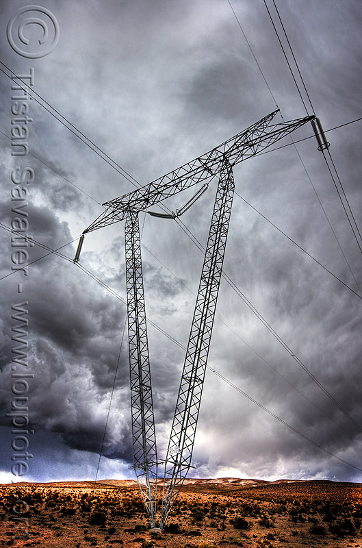 electric power line  - high voltage transmission line tower, abra el acay, acay pass, altiplano, clouds, cloudy, desert, electric line, electricity pylon, high voltage, noroeste argentino, power transmission lines, storm, stormy sky, transmission tower, wires