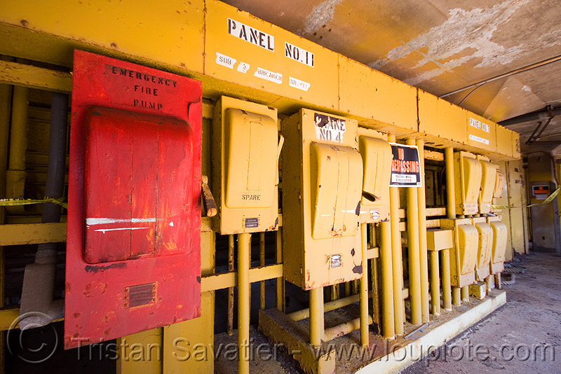 electrical panel - circuit breakers, abandoned, circuit breakers, electrical panel, kaiser shipyard, naval shipyard, red, richmond shipyard number 3, rosie the riveter, trespassing, urban exploration, yellow