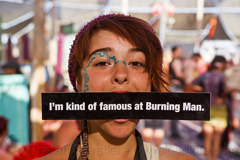elena is famous - burning man 2012, bumper sticker, center camp, famous burner, mouth, people, woman