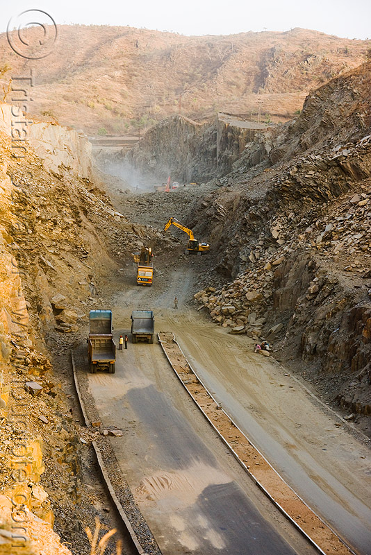 the end of the road - freeway construction near udaipur (india), at work, excavator, groundwork, heavy equipment, hydraulic, machinery, road construction, roadworks, trucks, working