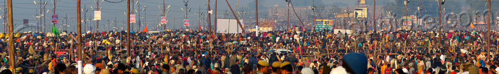 enormous crowd of hindu devotees gather at the kumbh mela (india), crowd, hindu pilgrimage, hinduism, india, kumbh maha snan, maha kumbh mela, mauni amavasya, panorama, triveni sangam
