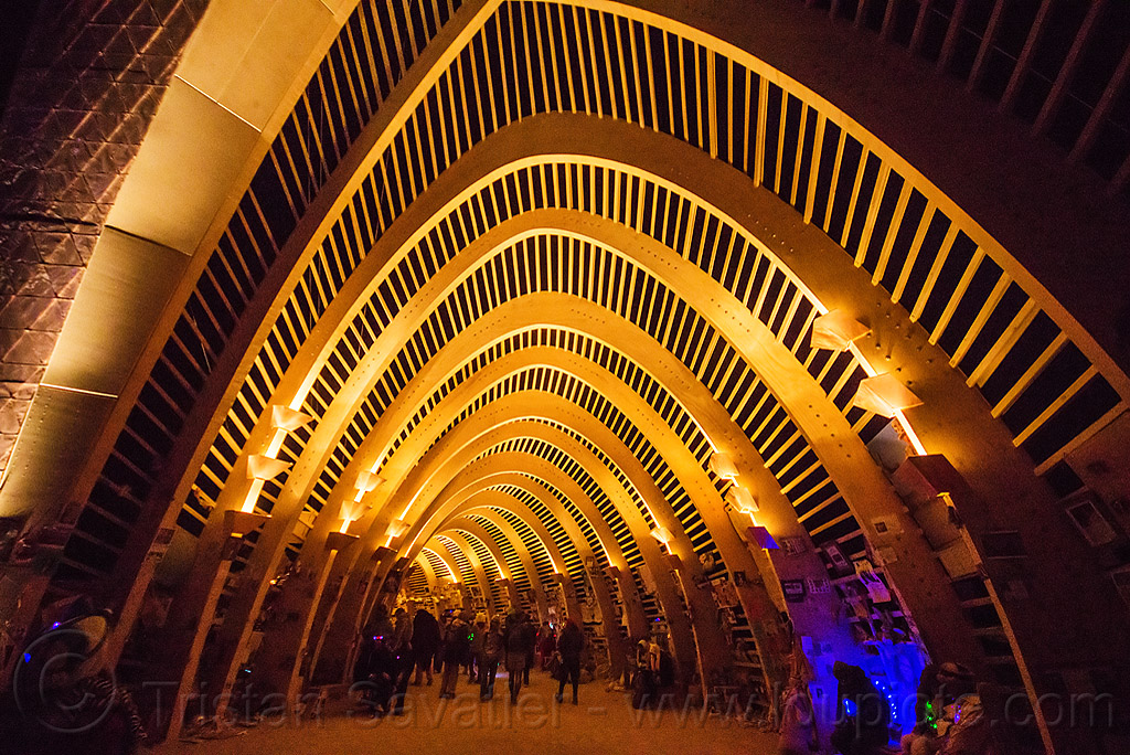 entrance of the temple of promise at night - burning man 2015, arches, architecture, burning man, frame, night, temple of promise, vault
