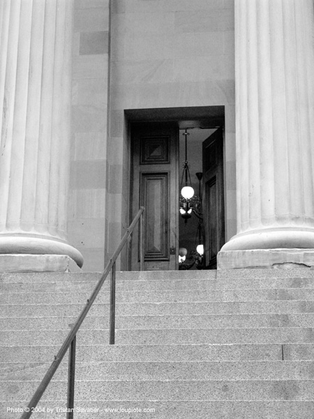 entrance - stair and columns, architecture, columns, door, entrance, gate, san francisco old mint, stairs