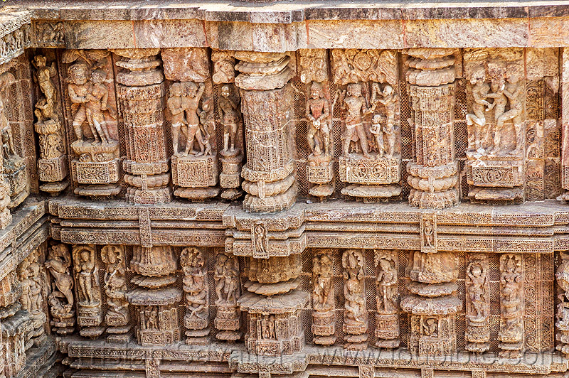 erotic sculptures at the konark sun temple (india), carving, high-relief, hindu temple, hinduism, maithuna, stone