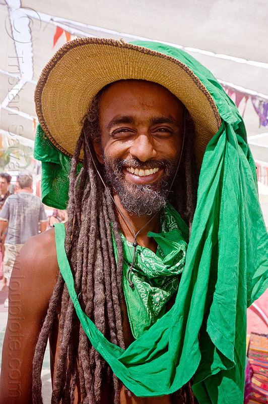 ethiopian man - burning man 2012, bisrat, burning man, dreadlocks, dreads, green scarf, hat