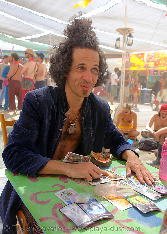 "evan the tarot man: ""you got the DEATH card!"" - burning-man 2006, burning man, center camp, people"