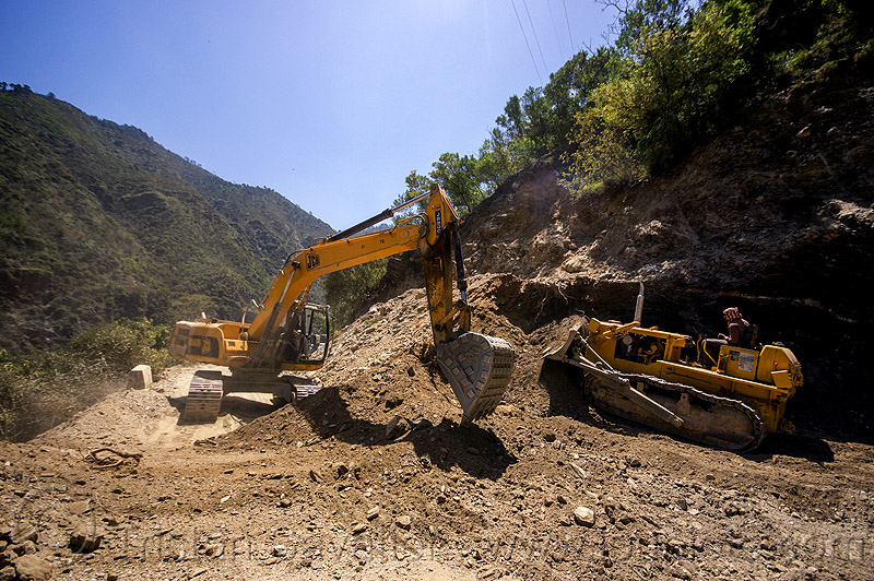 excavator and bulldozer clearing a landslide (india), at work, bd50, beml, bulldozer, dozer, excavator, heavy equipment, hydraulic, jcb, js200, js200hd, landslide, machinery, men, mountains, road construction, roadwork, workers, working