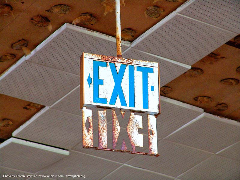 exit - exit sign - abandoned hospital (presidio, san francisco) - phsh, abandoned building, abandoned hospital, decay, graffiti, presidio hospital, presidio landmark apartments, trespassing, urban exploration