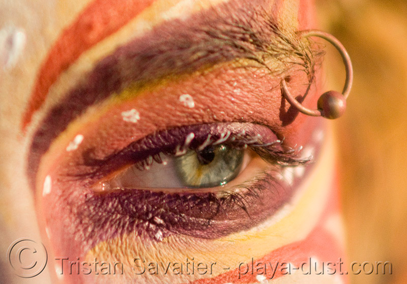 eyebrow piercing, body paint, body painting, burning man, center camp, gabrielle, makeup, people, woman