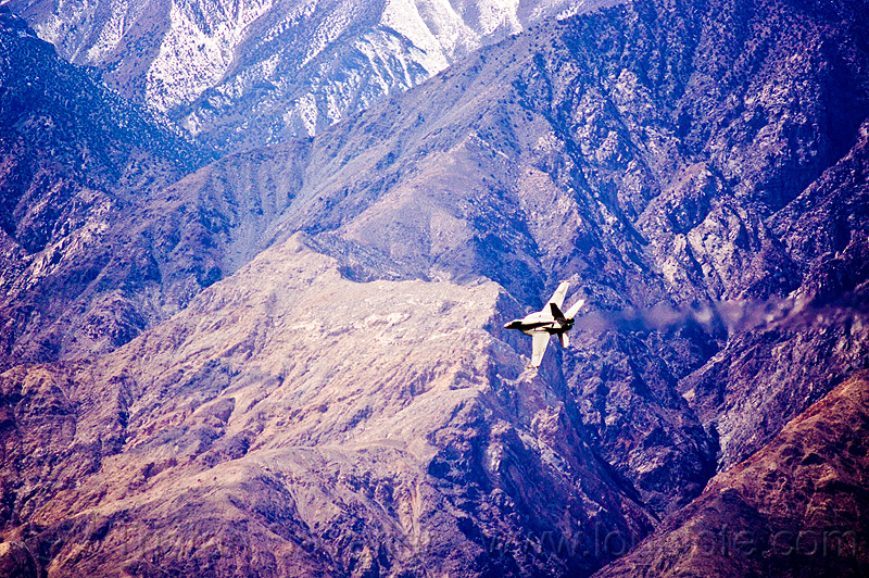 F-18 hornet flying low near mountain, aircraft, army, death valley, f-18 hornet, f/a-18 hornet, fighter jet, fly-by, flying, inyo mountains, low altitude, military plane, saline valley, training, us air force