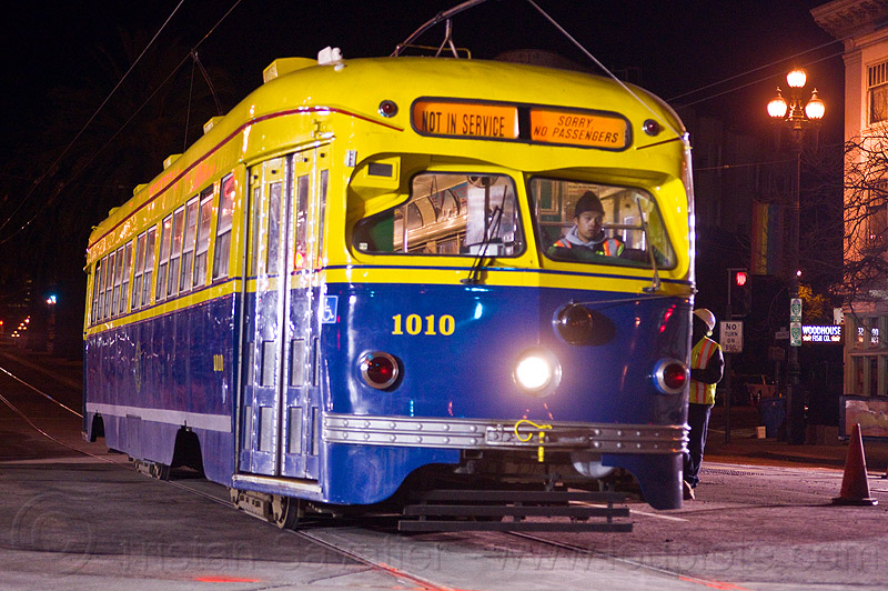 F-market line historical tram car 1010 - san francisco, 1010, 1948, f-line, f-market, light rail, magic carpets, man, muni, ntk, railroad construction, railroad tracks, rails, railway tracks, san francisco municipal railway, streetcar, test train, track maintenance, track work, tram, tramway