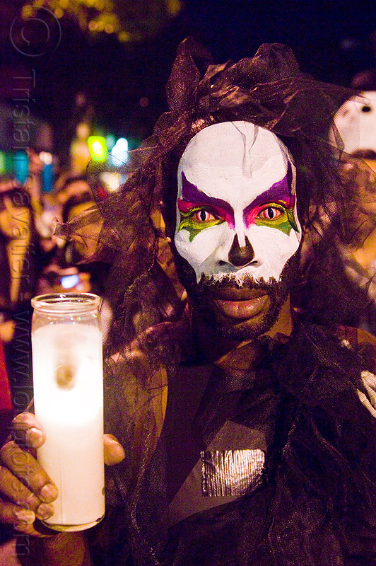 face paint - dia de los muertos - halloween (san francisco), candle, cat eyes, cat eyes contact lenses, cat eyes contacts, color contact lenses, day of the dead, face painting, facepaint, makeup, man, night, people, special effects contact lenses, theatrical contact lenses