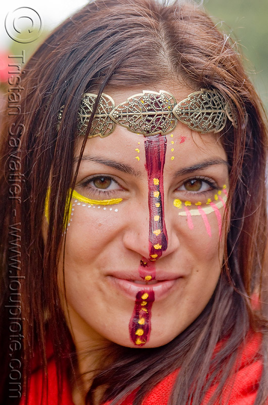 face paint - etched metal leaves headdress, andis, bay to breakers, costume, face painting, facepaint, festival, footrace, makeup, people, red, silver, street party, woman