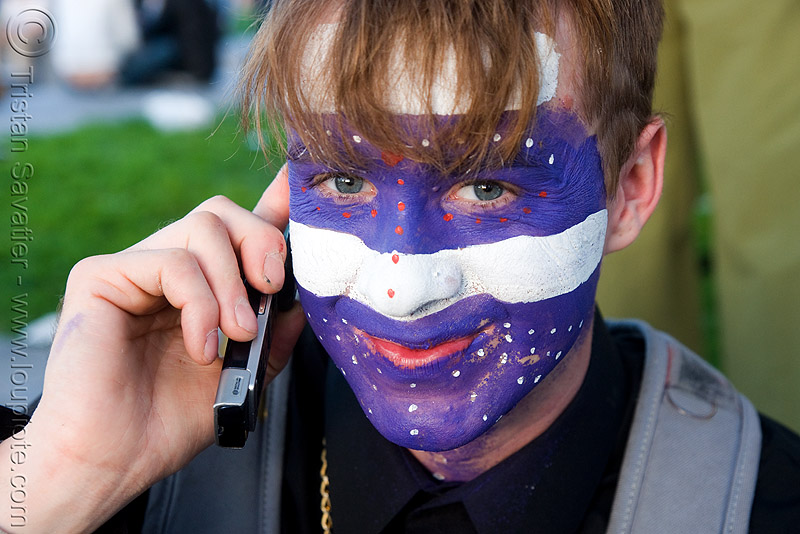 face paint - guy, face painting, facepaint, guy, lovevolution, makeup, man, purple, white