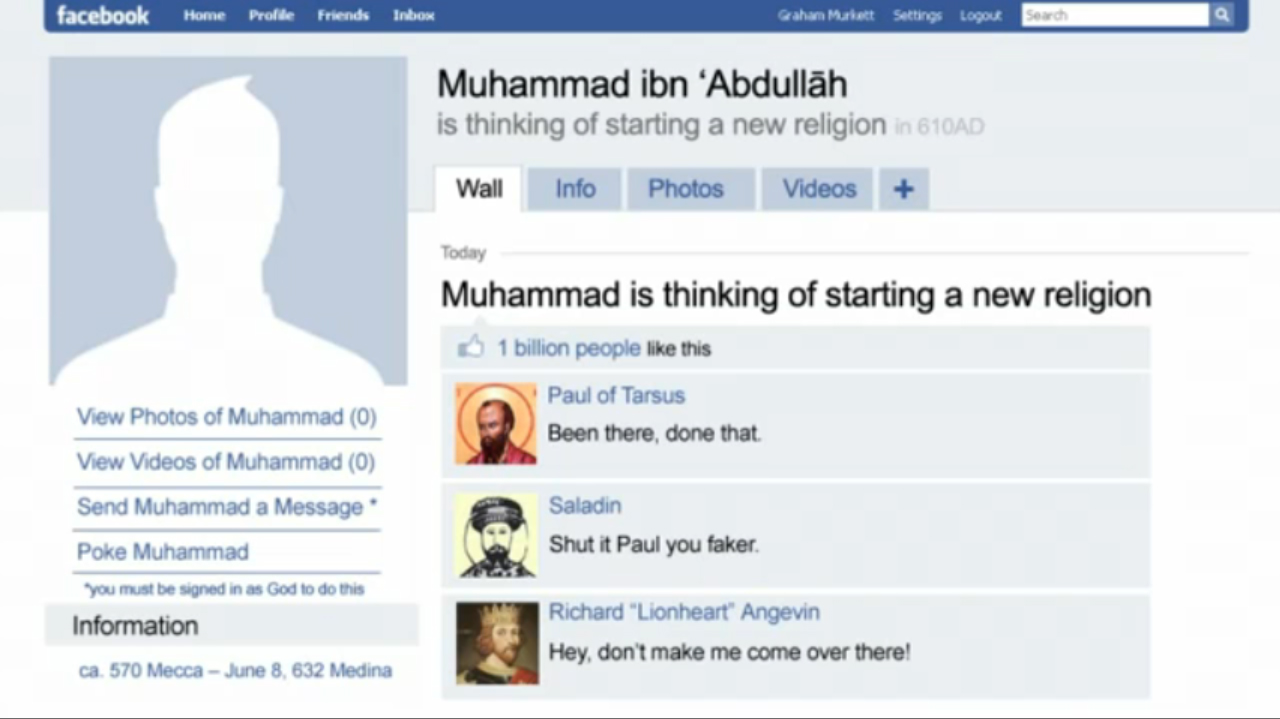 facebook page of prophet muhammad, allah, blasphemous, blasphemy, islam, mohamed, mohammed, muhammed, muslim, religion, screenshot