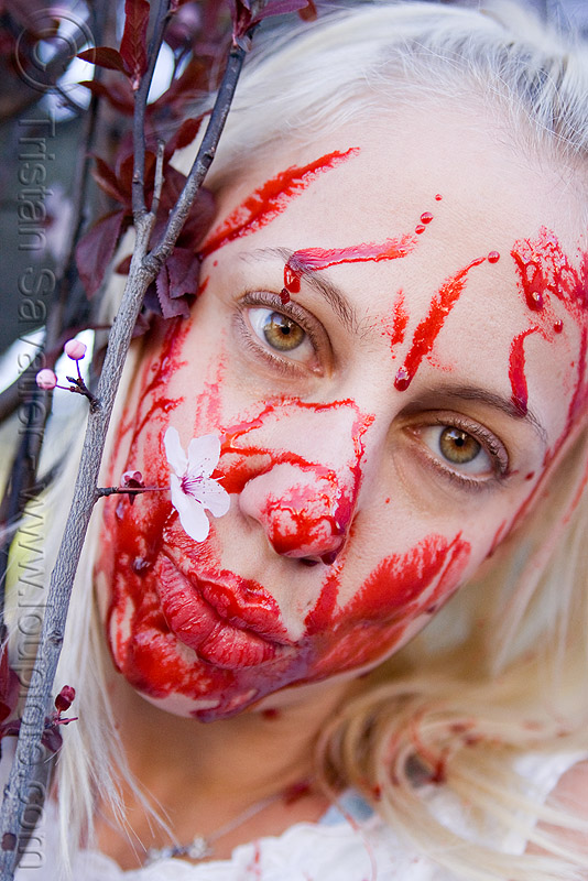 fake blood, bleeding, blonde, bloody, flower, halloween, lusha, makeup, people, red, special effects, stage blood, theatrical blood, woman, zombie