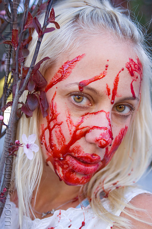 fake blood, bleeding, blonde, bloody, fake blood, halloween, lusha, makeup, red, special effects, stage blood, theatrical blood, woman, zombie