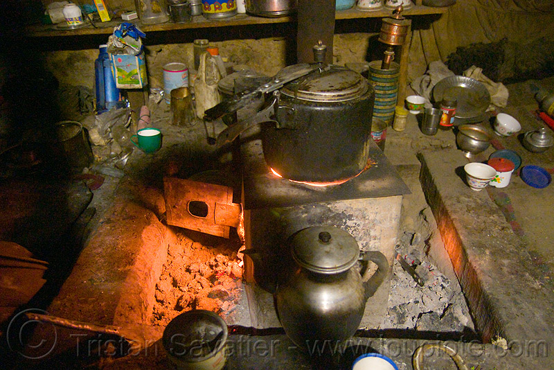 farmer's kitchen stove - pangong lake - ladakh (india), kitchen, ladakh, spangmik, wood stove