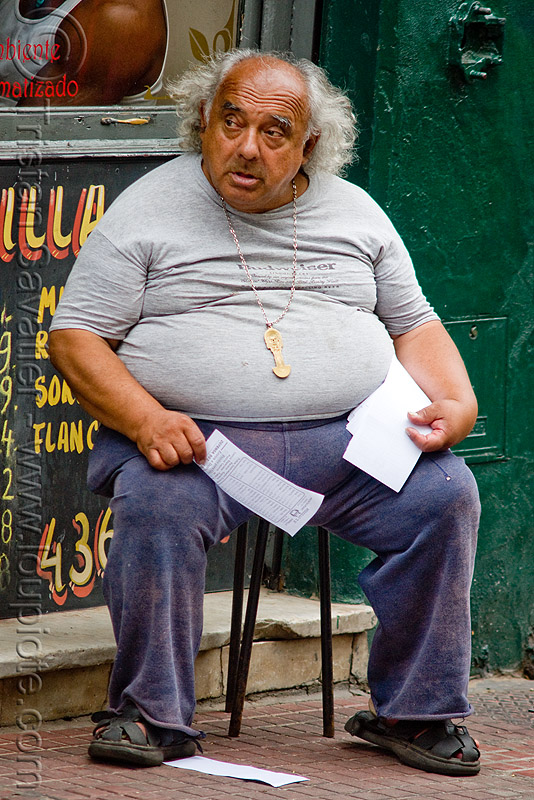 fat man, buenos aires, overweight, people, san telmo, sitting