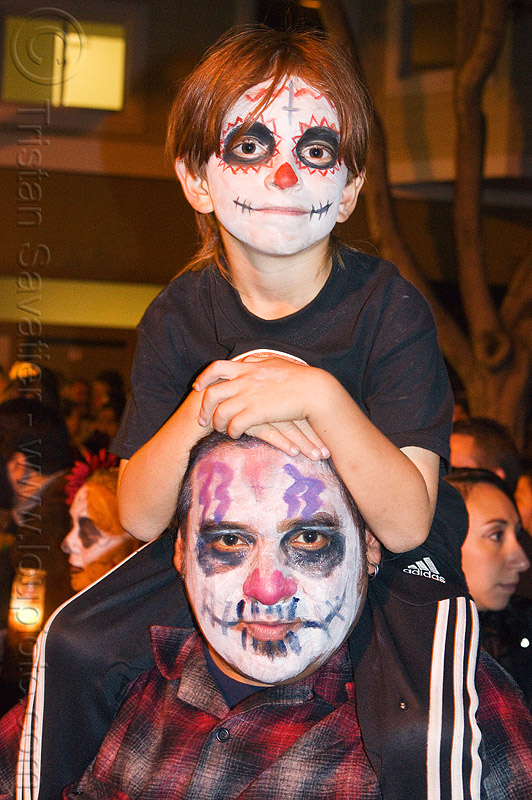 father and son with skull makeup, boy, child, day of the dead, dia de los muertos, face painting, facepaint, father, halloween, kid, man, night, skull makeup, son