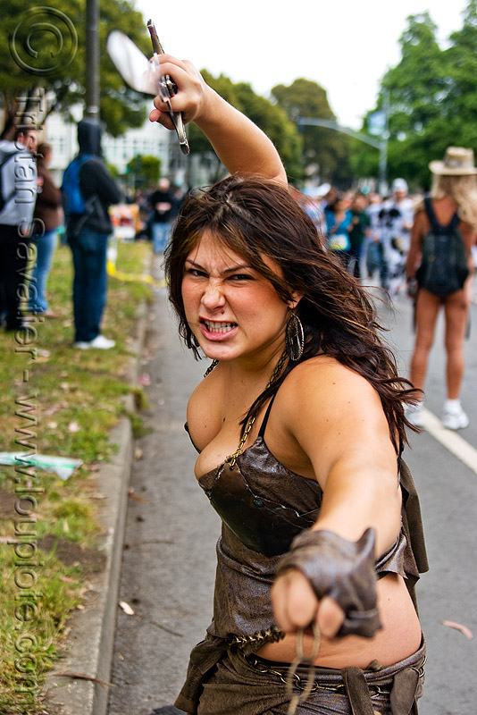 female warrior - sword - leather outfit, bay to breakers, festival, footrace, street party, sword, warrior, woman