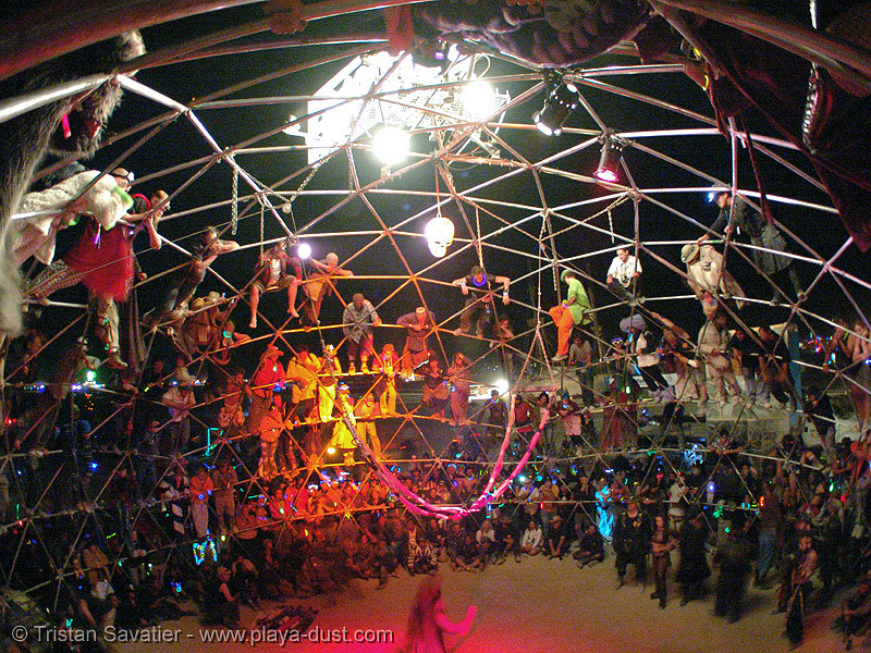 death guild thunderdome - burning-man 2005, art, death guild, dgtd, fisheye, geodesic dome, night, thunderdome