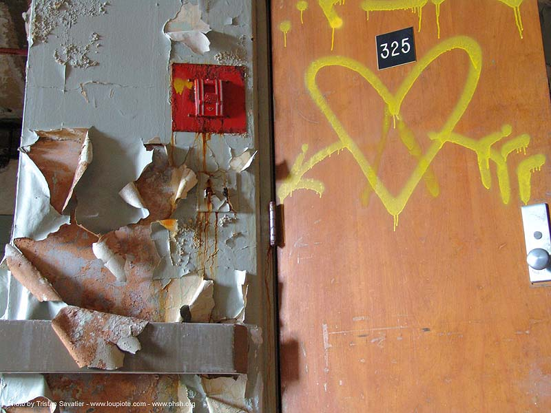 fire-alarm - peeling paint - heart and arrow graffiti abandoned hospital (presidio, san francisco) - phsh, abandoned building, abandoned hospital, arrow, decay, graffiti, heart, love, presidio hospital, presidio landmark apartments, trespassing, urban exploration