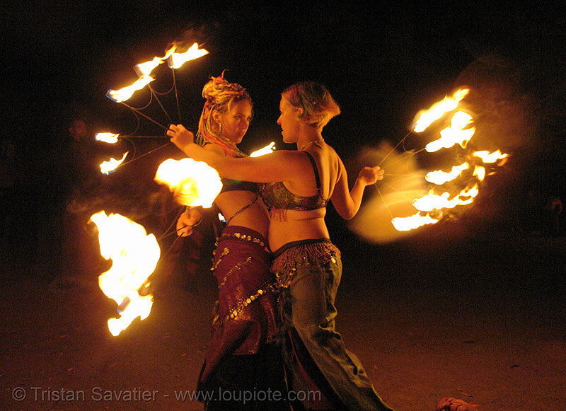 fire artists (bomtribe) - san francisco, fire dancer, fire dancing, fire fans, fire performer, fire spinning, flames, night, people, spinning fire