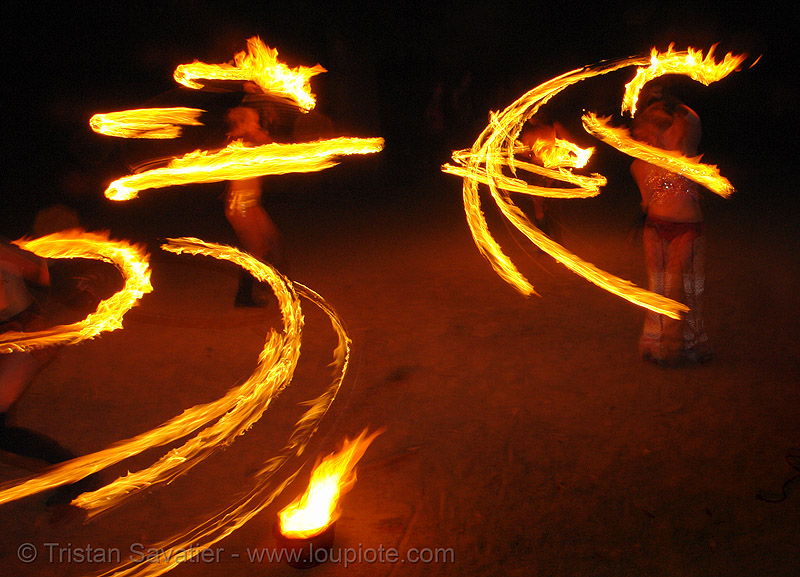 fire artists (bOmtribe) - san francisco, fire dancer, fire dancing, fire hula, fire hula hoop, fire performer, fire spinning, flames, hula hooping, hula hoops, long exposure, night, people, spinning fire