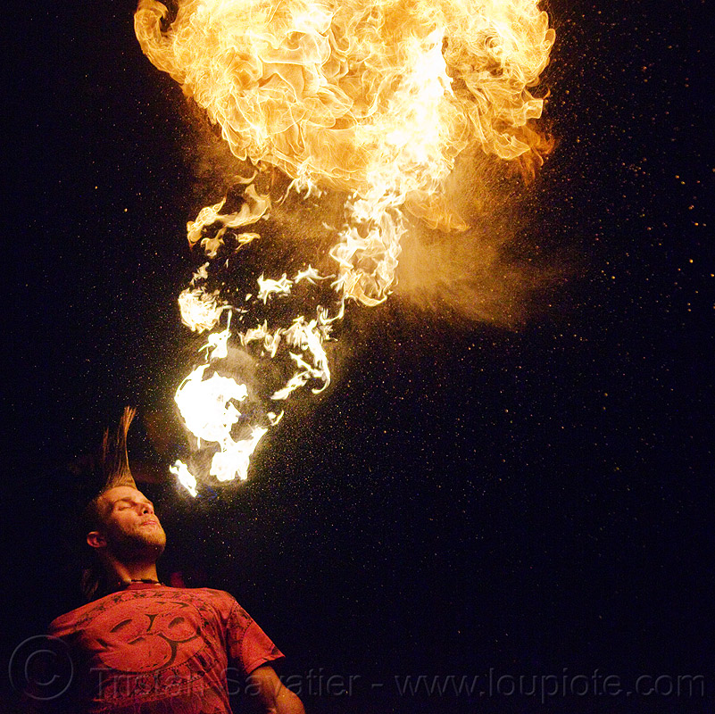 fire breather (san francisco), breathing fire, fire breather, fire breathing, fire performer, man, mohawk hair, night, spitting fire