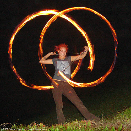 fire dancer, circles, fire dancing, fire performer, fire poi, fire spinning, flames, long exposure, night, people, red hair, redhaired, redhead, ring, spinning fire, woman