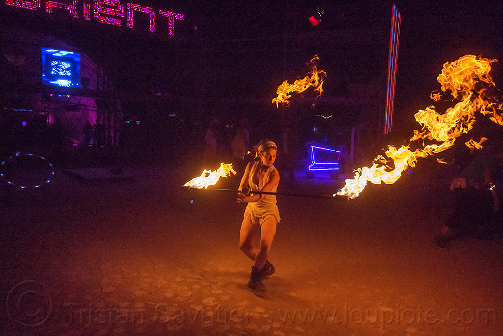 fire dancer with fire staff - megan - burning man 2015, burning man, disorient, fire dancer, fire dancing, fire performer, fire spinning, fire staff, flame, night, woman