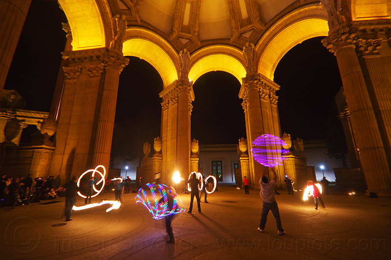 fire dancers at the palace of fine arts, arches, columns, fire dancer, fire dancing, fire performer, fire spinning, led lights, night, vaults