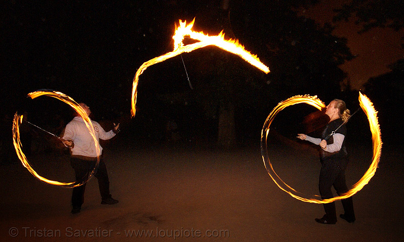 fire dancers (san francisco), fire dancer, fire dancing, fire performer, fire spinning, flames, lena, long exposure, memory, night, people, spinning fire