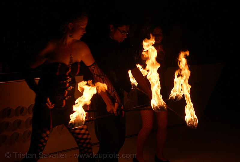 fire dancers (san francisco), double staff, fire dancer, fire dancing, fire performer, fire spinning, fire staffs, fire staves, flames, krissy, night, people, spinning fire