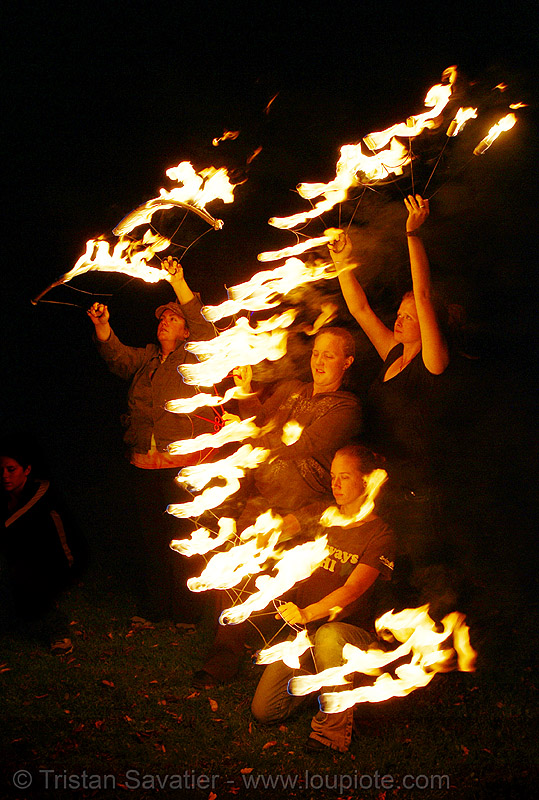 fire dancers (san francisco), fan, fire dancer, fire dancing, fire fans, fire performer, fire spinning, flames, night, spinning fire