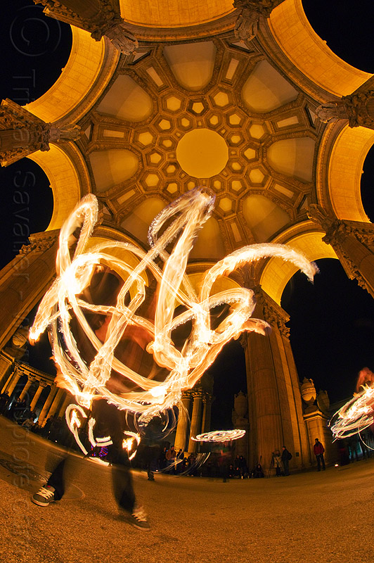 fire dancers under the dome - palace of fine arts, alessandra, arches, brittany, dome, fire dancer, fire dancing, fire hoop, fire performer, fire spinning, flames, long exposure, night, palace of fine arts, vaults