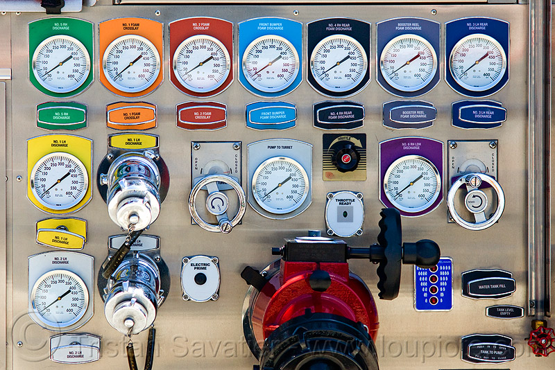 fire engine control panel, control panel, fire department, fire engine, fire truck, pressure gauges, rainbow colors, sffd, valves