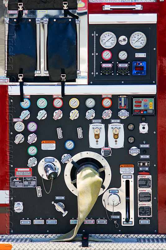 fire engine control panel, dials, fire department, fire truck, gauges, pressure, pressure gauges, sffd, valves
