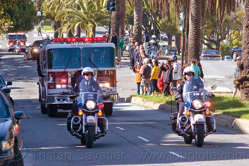 fire engine hearse, fire department, fire engines, fire trucks, harley davidson, hearse, law enforcement, motor cop, motor officer, motorbikes, motorcycle police, motorcycle unit, motorcycles, procession, rider, riding, sffd, sfpd, street