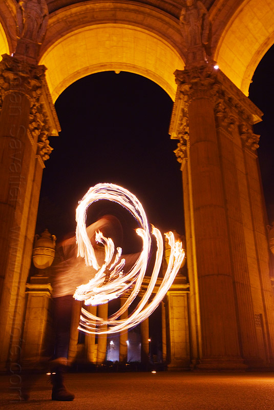fire fans at the palace of fine arts, arches, columns, fire dancer, fire dancing, fire fans, fire performer, fire spinning, mel, night, vaults, woman