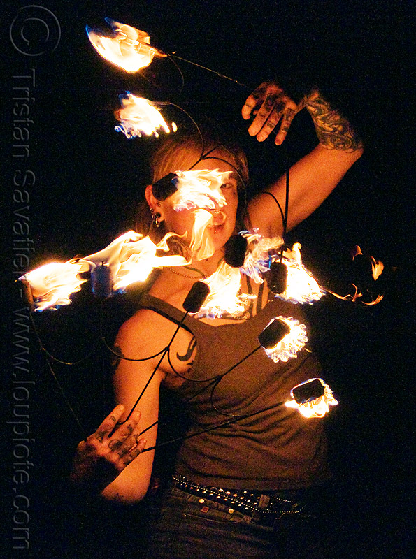 fire fans - leah, fire dancer, fire dancing, fire performer, fire spinning, flames, night, people, tattooed, tattoos, woman