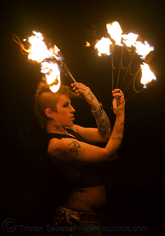 fire fans (san francisco) - fire dancer - leah, backlight, fire dancing, fire performer, fire spinning, flames, night, people, spinning fire, tattooed, tattoos, woman