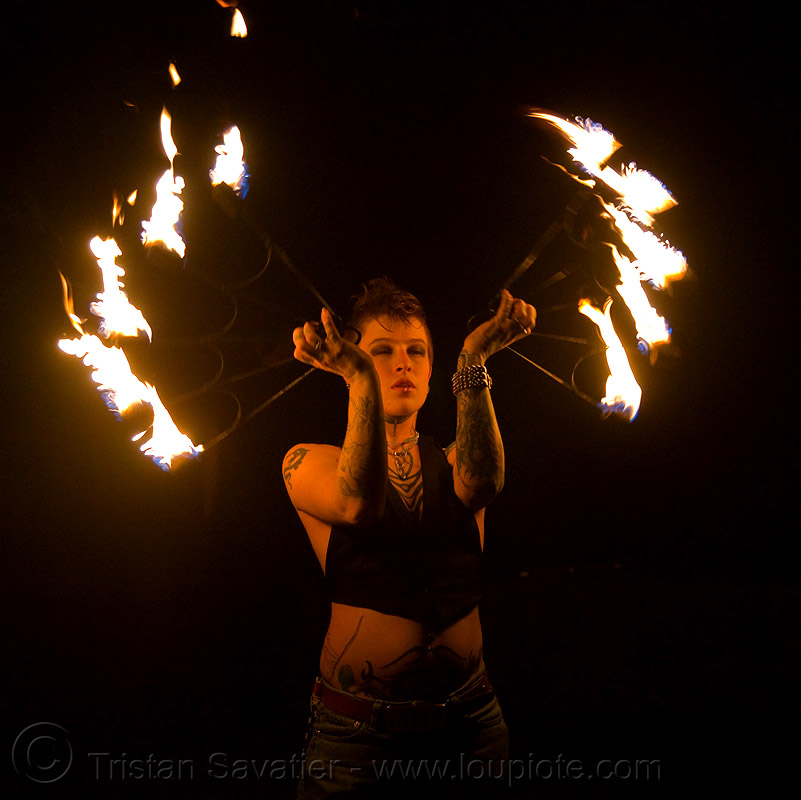 fire fans (san francisco) - fire dancer - leah, backlight, fire dancer, fire dancing, fire fans, fire performer, fire spinning, flame, leah, night, spinning fire, tattooed, tattoos, woman