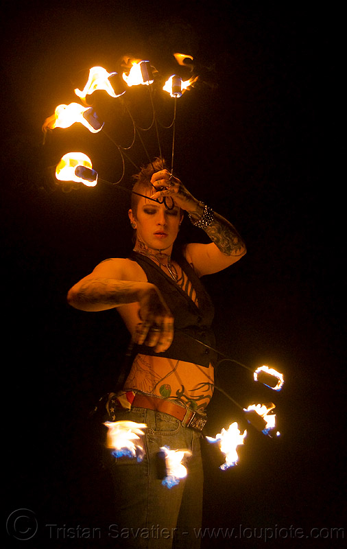 fire fans (san francisco) - fire dancer - leah, backlight, fire dancer, fire dancing, fire fans, fire performer, fire spinning, flames, leah, night, spinning fire, tattooed, tattoos, woman