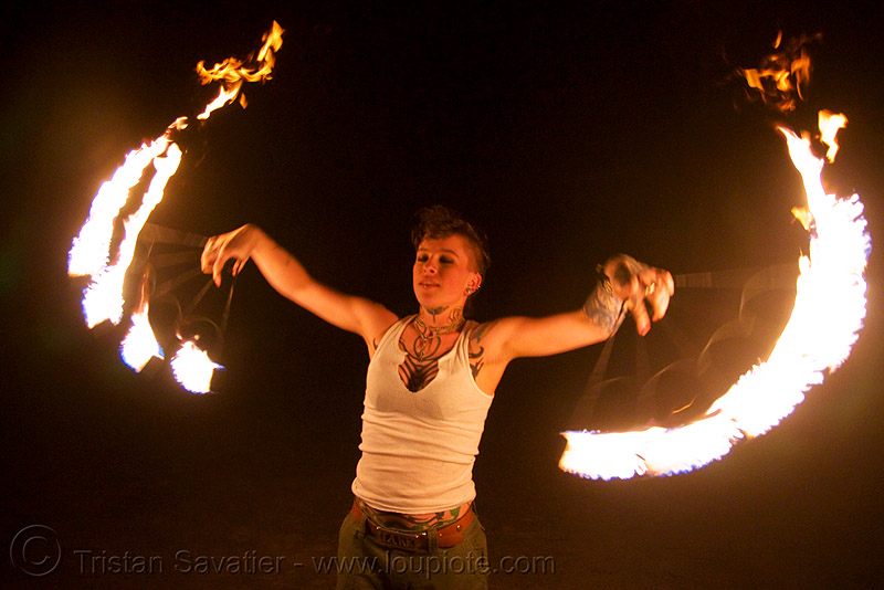 fire fans (san francisco) - fire dancer - leah, fire dancer, fire dancing, fire fans, fire performer, fire spinning, flame, leah, night, spinning fire, tattooed, tattoos, woman