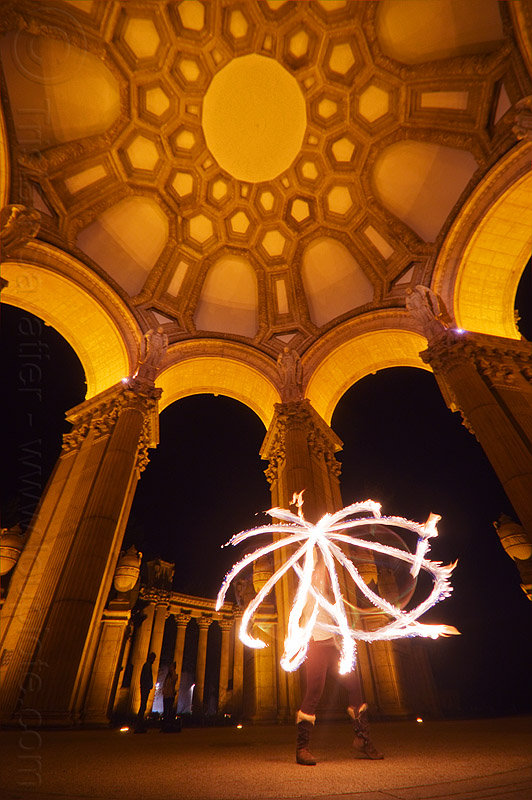 fire hoop at the palace of fine arts, arches, columns, dome, fire dancer, fire dancing, fire hoop, fire performer, fire spinning, hulahoop, mel, night, vaults, woman